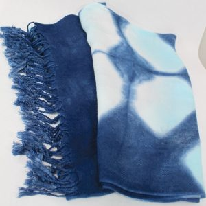 turquoise overdyed indigo shawl in viscose by doris lovadina-lee toronto canada hand made luxury