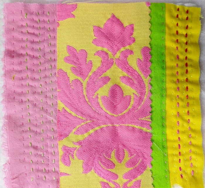 Day three hand stitch meditation with running stitches and French knots by Doris Lovadina Lee