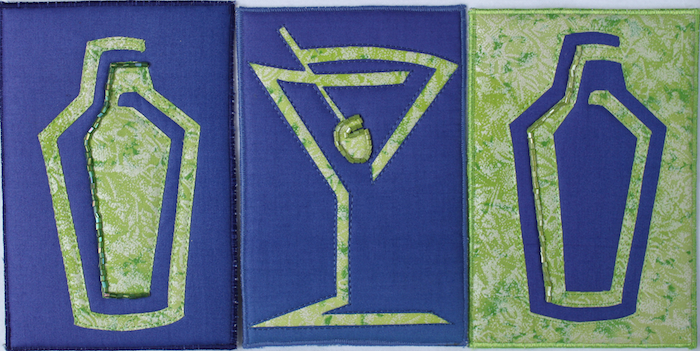 quilted art postcards of martini glass and shakers, with beading