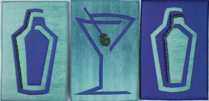 fabric postcards of Martini Shakers and martini glasses