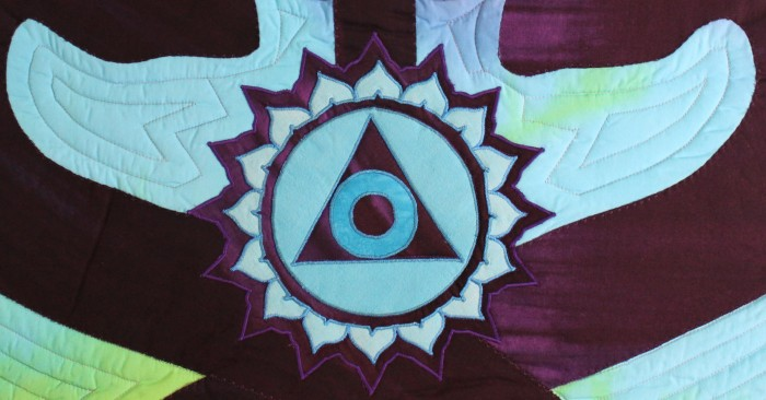 detail of throat chakra in art quilt Vibrant Path detail by dorislovadinalee toronto artist