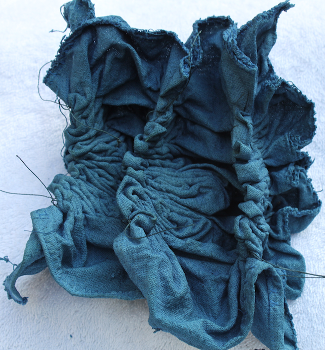 Indigo Nui shibori cotton/linen cushion top