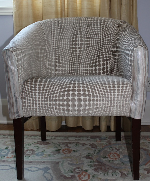 Newly upholstered barrel chair by Doris