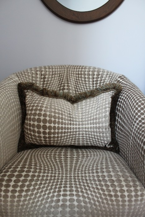 Matching pillow for newly reupholstered chair by doris lovadina-lee