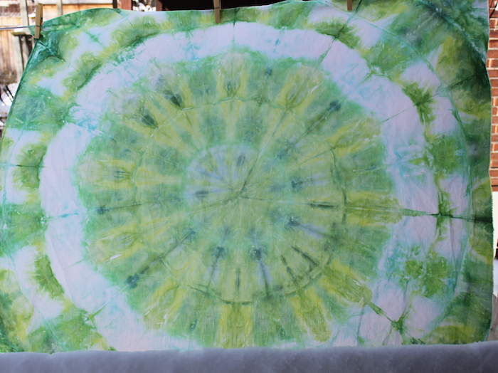 snow dyeing mandala bright green