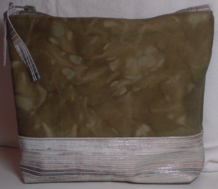 Hand dyed canvas zipped pouch with leather bottom