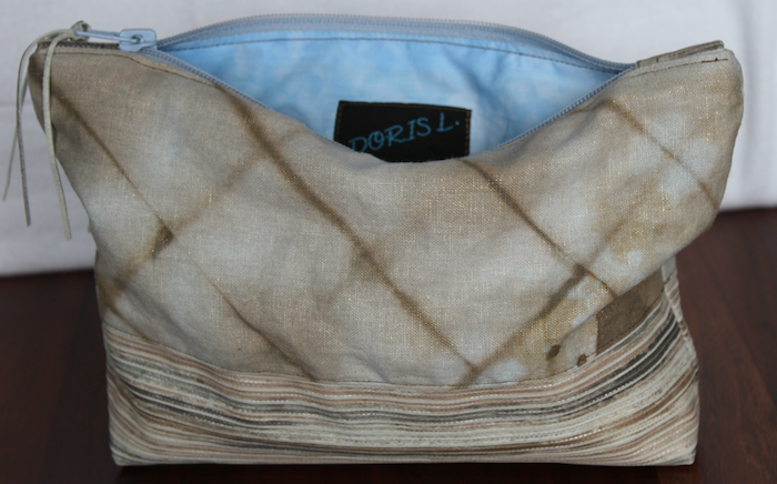 handdyed linen pouch with blue lining