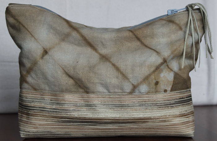 Hand dyed linen pouch with leather bottom