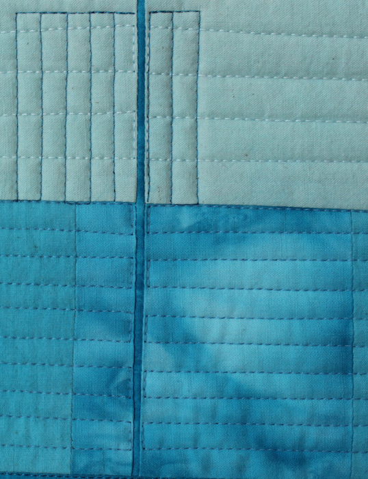 turquoise art quilt detail top