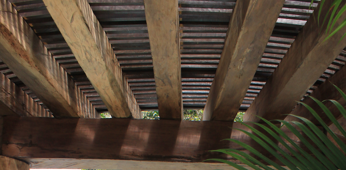 ceiling trusses of the palapa in the Mayan Riviera, Mexico