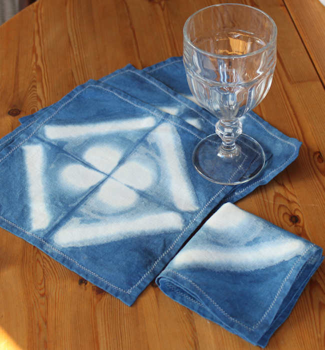 Indigo dyed linen cocktail napkins folded