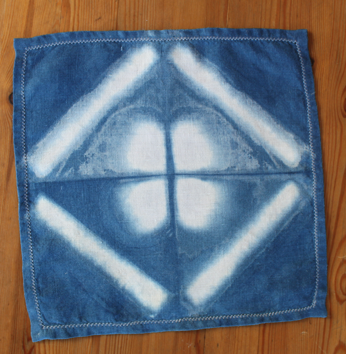 Indigo dyed linen cocktail napkin