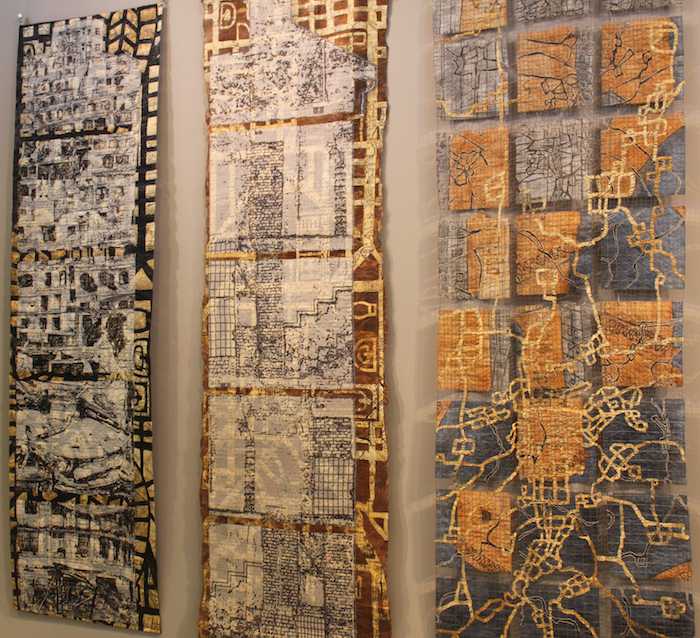 Three pieces by Eszter Bornemisza from left to right: No Home in the City; At Home in the City; Constructive Decentralization in World of Threads 2017 taken by Doris Lovadina-Lee