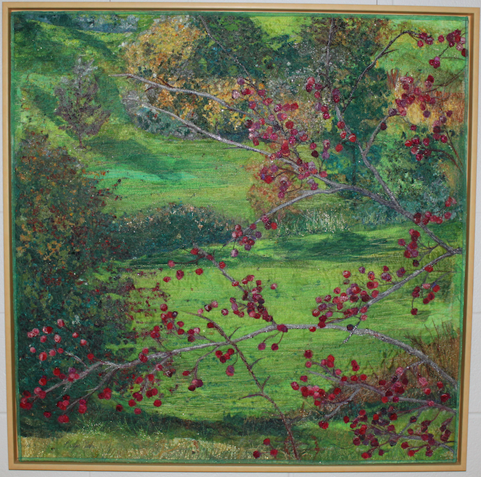 Autumn Branches Against Green Hill by Marilyn Clarke