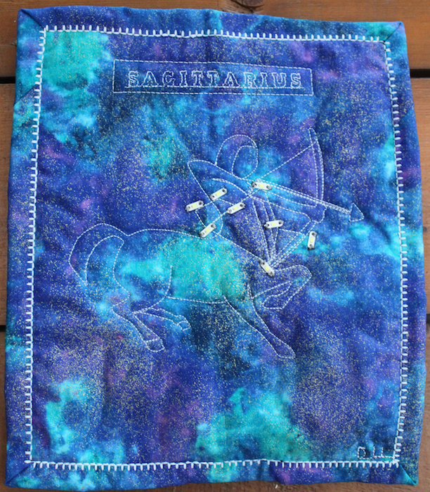 Sagittarius constellation quilt with LED lights