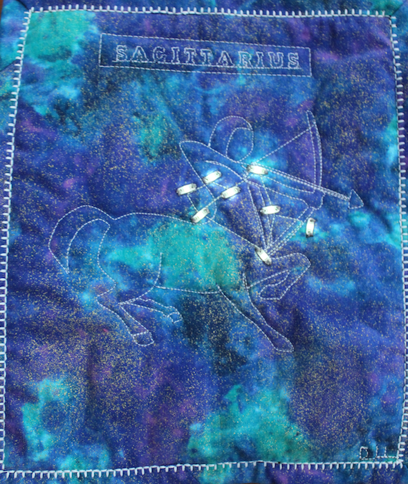 Sagittarius constellation quilt with LED lights on