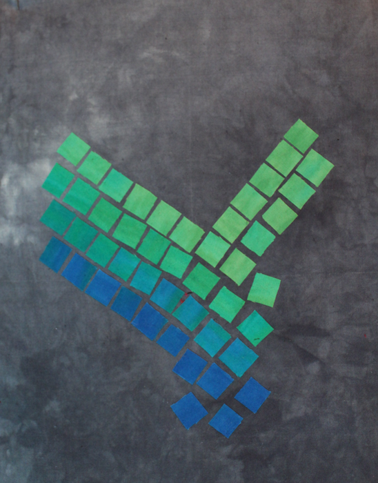 doris lovadina-lee's blue and green hand dyed mosaic cotton art quilt