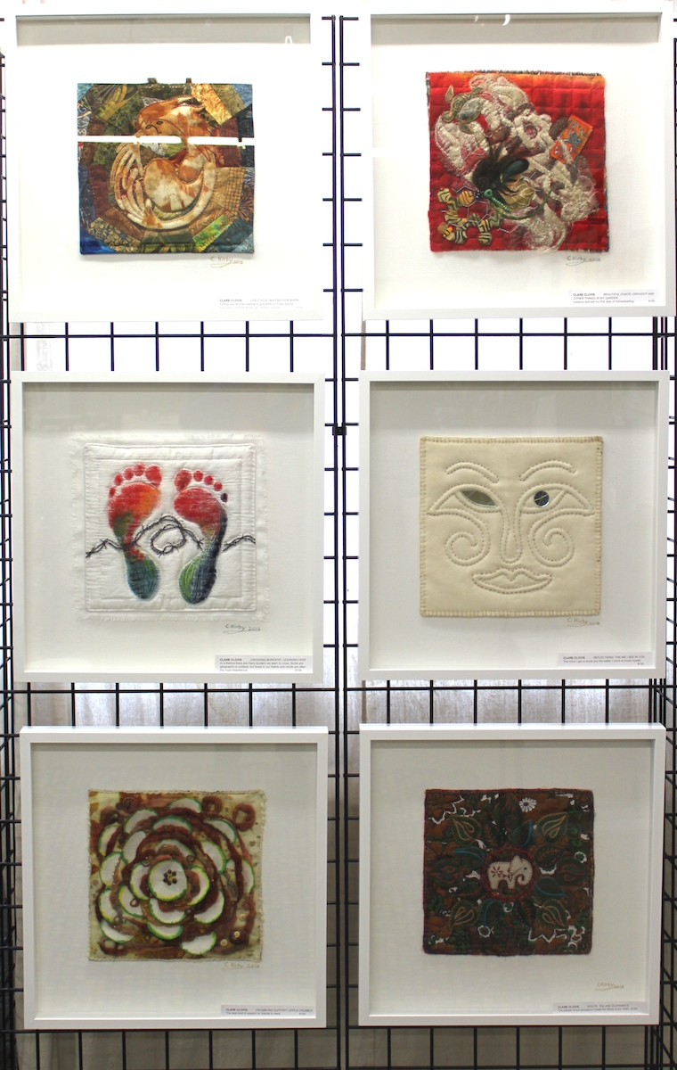 Clare Clovis: Waiting for Birth, Drought and Other Things in My Garden (Top row); Learning How, The Me I See In You (Middle row); Apple Crumble, Tea and Elephants (Bottom row)