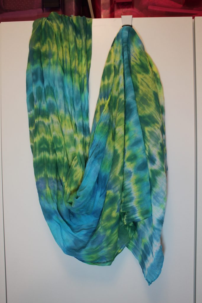 blue green shibori scarf