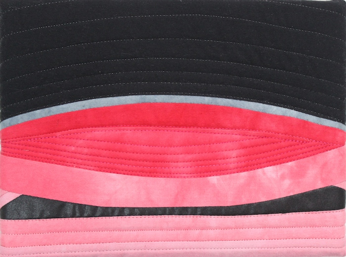 pink and black small artwork by dorislovadinalee.com called Lipstick and mascara made with hand dyed fabrics for the 2017 christmas art show