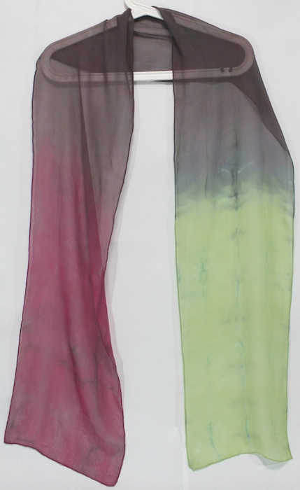 lightweigh silk chiffon scarf hand dyed by doris lee in canada rose green gray grey