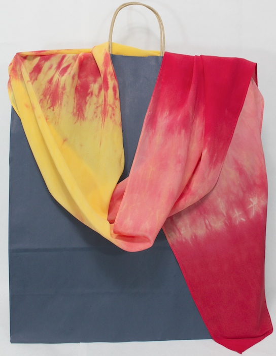 summertime parfait shibori silk scarf crepe hand dyed by doris toronto in red to yellow with orange