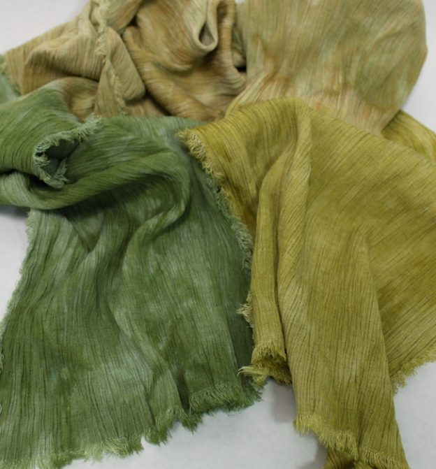 texture of linen/rayon parfait dyed scarf in greens by doris lovadina lee toronto