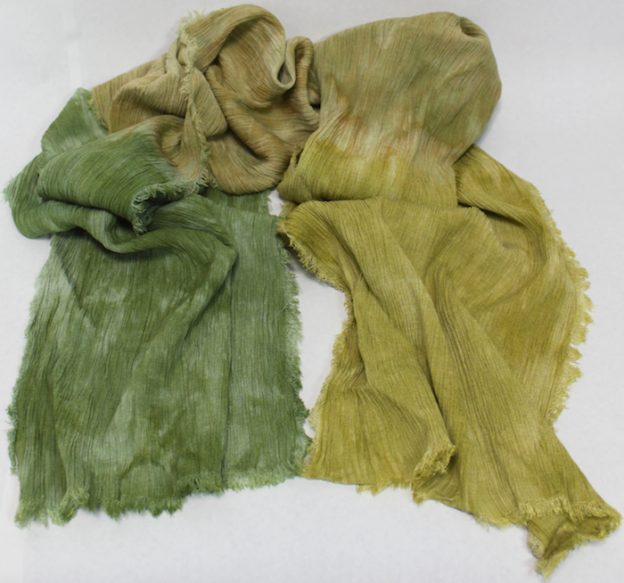 linen and rayon natural fiber scarf hand dyed by doris lovadinalee in toronto parfait dip dyed