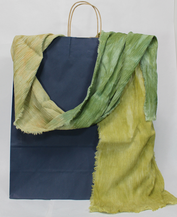 shades of green hand dyed parfait dyed linen and rayon crinkle scarf by doris in toronto