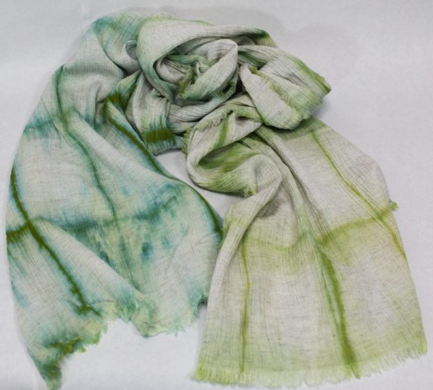 crinkle linen and rayon itajime shibori scarf hand dyed in green and turquoise by doris lovadina lee canada