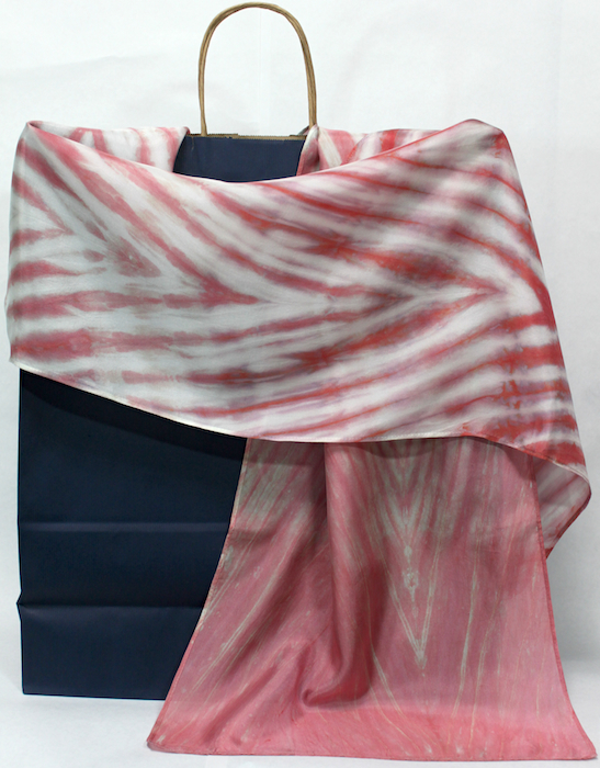 silk scarf hand dyed by doris lovadina-lee designs arashi shibori peach in toronto