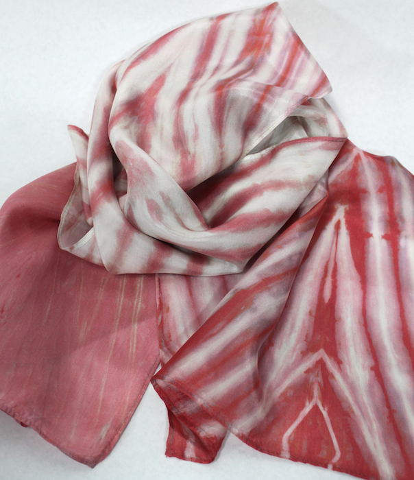 peach silk scarf created by doris lovadina-lee hand dyed in toronto studio one of a kind item