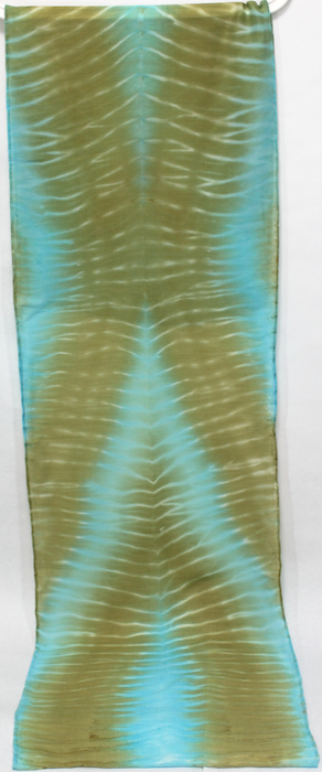 arashi shibori silk and wool hand dyed scarf by doris toronto ontario canada