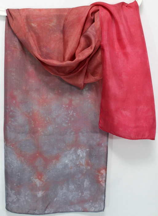 rust red and gray parfait dip dyed by dorislovadinalee.com in toronto canada silk scarves