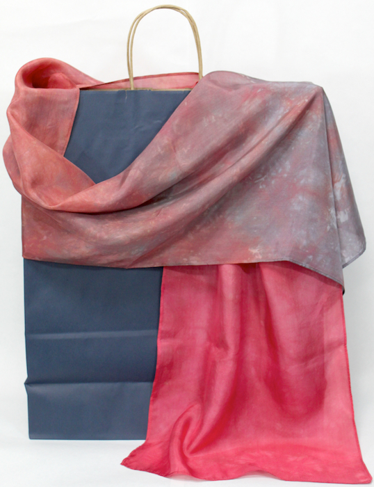 Oxblood red and gray silk scarf parfait dip dyed by doris lovadina lee in canada
