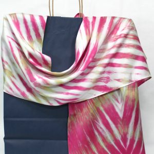 arashi shibori hot pink and olive green crepe back silk satin scarf hand dyed by doris lovadina-lee designs