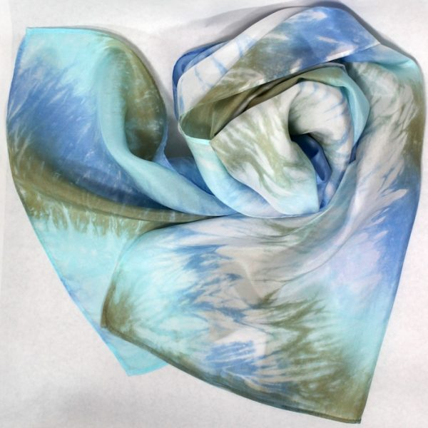 hand dyed arashi shibori turquoise, blue and olive green silk scarf in toronto by doris lee deisigns