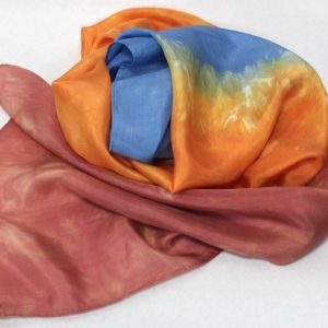 hand dyed shibori scarf doris lovadina lee red, blue and orange canada