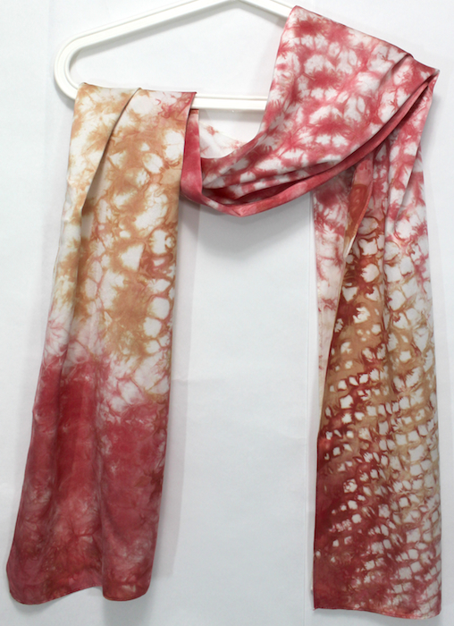 hand made silky satin hand dyed scarf using nui shibori techniques in toronto ontario by dorislovadinalee designs