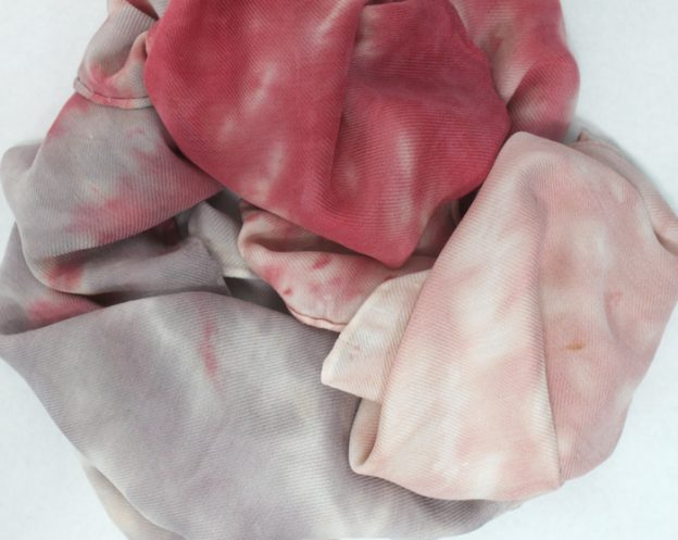 nui shbiori hand dyed beige, coral and grey silk and wool blend scarf in toronto canada by doris lovadina-lee