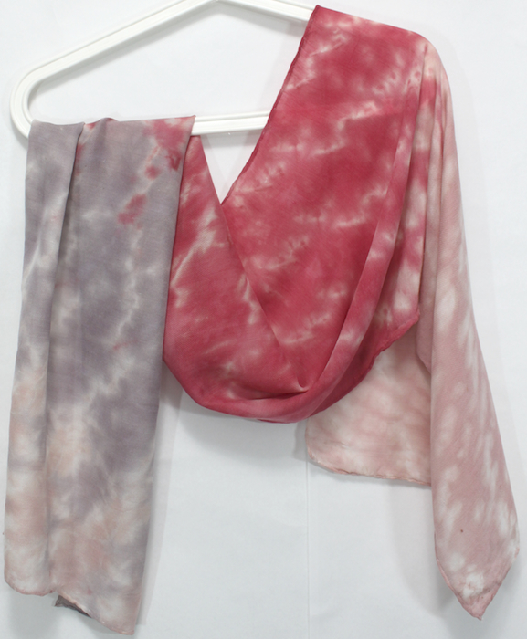 made by doris lovadina-lee hand dyed silk and wool beige, coral and gray scarf in toronto canada