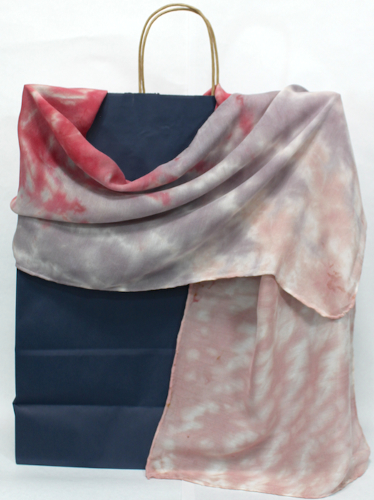 hand dyed nui shibori beige, coral and gray scarf wool/silk blend by dorislovadinalee designs in toronto