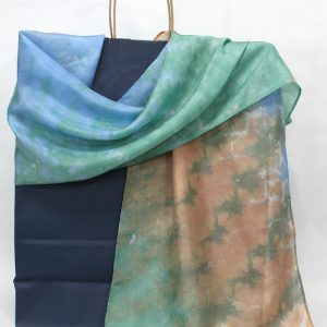 blue, peach, green silk scarf hand dyed nui shibori by doris lovadina lee designs in canada