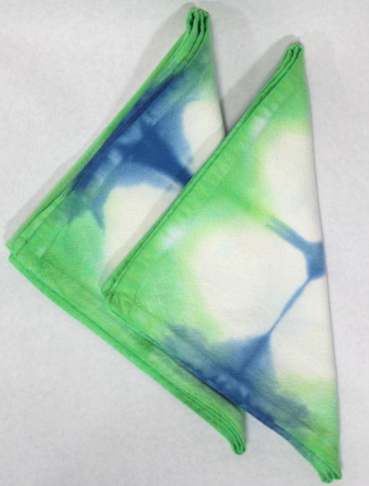green and blue hand dyed cotton napkins doris lovadina-lee hand made gifts