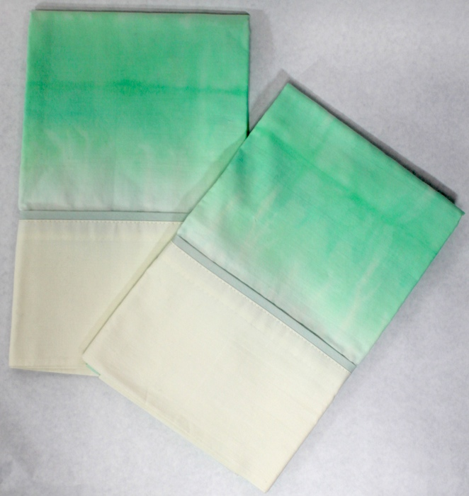 Set of 2 dip dyed hand dyed original pillowcases hand made toronto ontario canada
