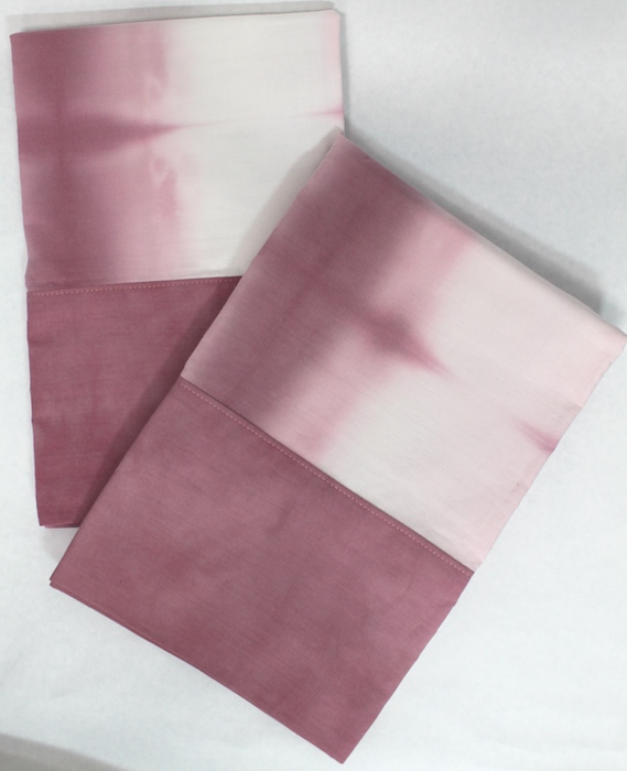 hand dyed rose pillowcases set of 2 hand made in toronto canada by doris lovadina-lee