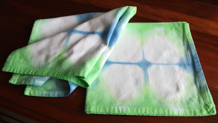 for sale Thrifted textiles cotton napkins green and blue shibori handdyed by doris lovadina-lee