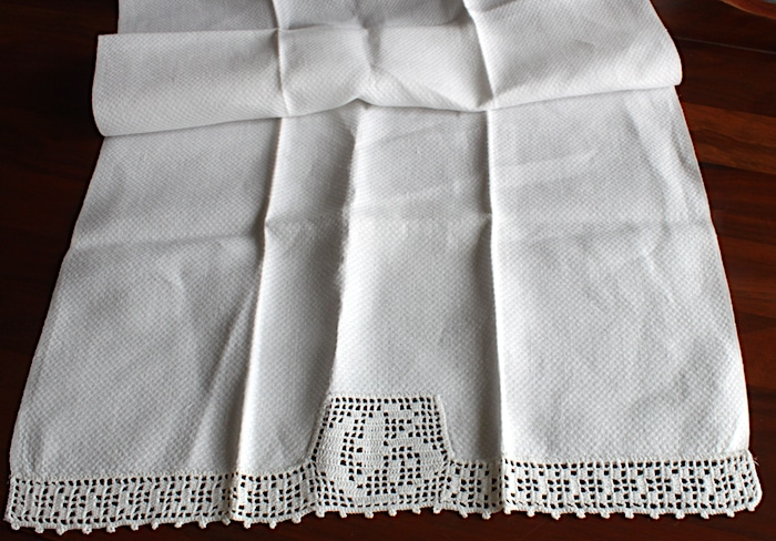 Vintage linen hand towel textiles with crocheted monogram Doris lovadina-lee found in Guelph Ontario Canada