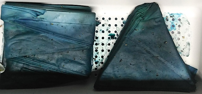 shibori folded fabric snow dyed blue green toronto doris lovadina-lee