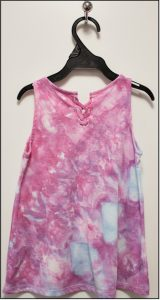 back of ice dyed girls t-shirt in pink and blue